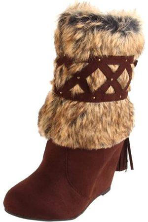 Not Rated Not Rated Damen Stiefel mit Keilabsatz aus Kunstfell, Braun (Schokoladenbraun)