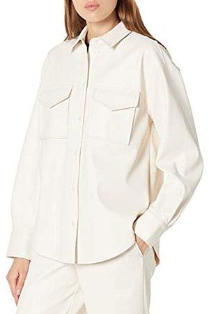 THE DROP Hemdjacke für Damen, langer Schnitt, aus Kunstleder, Elfenbeinweiß, von @lisadnyc