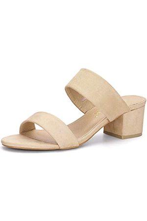 Allegra K Damen Peep Toe Blockabsatz Dual Strap Slide Sandalen 40