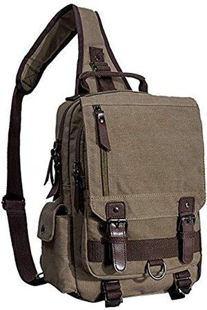 El-fmly El-fmly Canvas Crossbody Messenger Bag für Männer Frauen Sling Schulter Rucksack Reise Rucksack - Gr�n - Large