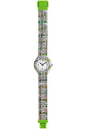 Hip Armbanduhr Frau Tweed quadrante Weiss e uhrarmband in silikon, Stoff