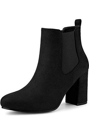 Allegra K Damen Rund Toe Mid Calf Blockabsatz Chelsea Boots Stiefel 39
