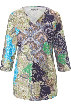 Green Cotton Damen Shirts - Splitneck-Shirt 3/4-Arm
