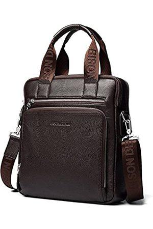 BISON DENIM BISON DENIM Herren Aktentasche Leder Business Arbeitstasche 14 Zoll Laptop Messenger Bag iPad Aktentasche Handtasche für Herren