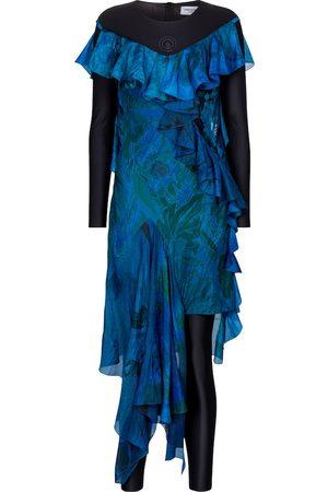 Marine Serre Damen Asymmetrische Kleider - Exklusiv bei Mytheresa – Asymmetrisches Kleid aus Seide