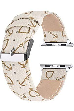 Moonooda Moonooda Ersatz-Uhrenarmband mit Muster, kompatibel mit Apple Watch, 42 mm, 44 mm, Vintage-Leder, kompatibel mit iWatch Serie SE 6, 5, 4 (44 mm), Serie 3, 2