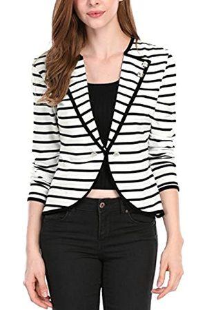 Allegra K Damen Langarm Revers Button Streifen Crop Blazer Jacke XS