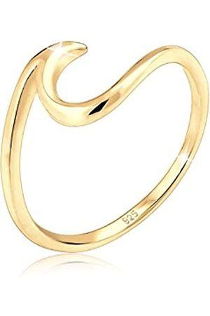 Elli Elli Damen Ring mit Wellen Trendsymbol Strand Maritim in 925 Sterling Silber-Gold