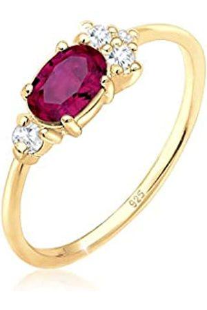Elli Elli PREMIUM Ring Damen Zirkonia Synthetischer Rubin in 925 Sterling Silber Vergoldet