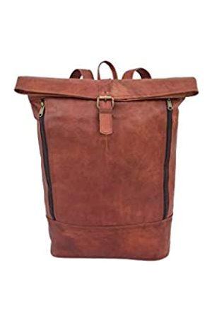 Leather Castle Handgefertigter Vintage-Rucksack aus genarbtem Leder, für 17 Zoll Laptops, Rucksack, Tagesrucksack, Büro, Schule, Computertasche