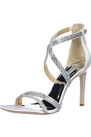 Badgley Mischka Damen Reißverschluss hinten Sandalen mit Absatz, (Weicher weißer Satin.)