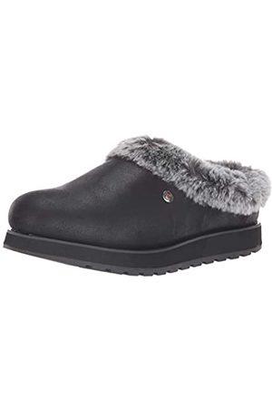 Skechers Damen Keepsakes-R E M Flache Hausschuhe, (Black Micro Leather/Faux Fur Line Blk)