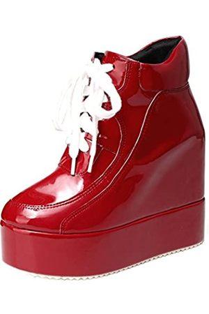 GETMOREBEAUTY Getmorebeauty Damen Plateau-Sneaker mit verstecktem Absatz und Keilabsatz (rot)