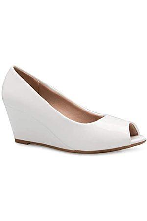 Olivia K Entzückender Damenschuh mit niedrigem Peep-Toe-Keilabsatz, bequem, bezaubernd, (weiße Lacklederoptik)