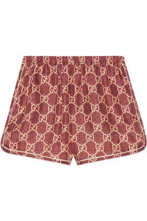 adidas Damen Shorts - Shorts aus Seide mit GG Supreme-Print