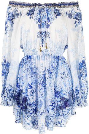 adidas Floral-print drop-shoulder short dress