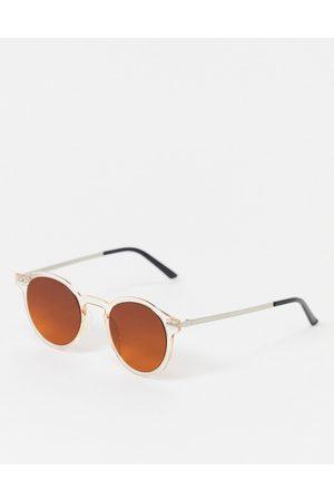 Spitfire Runde Sonnenbrille mit transparentem Rahmen und silbernen Gläsern