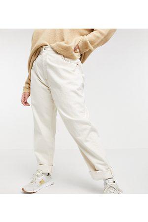 adidas ASOS DESIGN Curve – Slouchy – Hoch geschnittene Mom-Jeans in Ecru-Creme