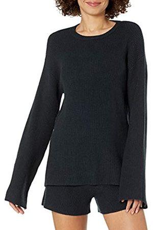 THE DROP Damen Alice Rippstrick-Pullover mit Rundhalsausschnitt und geschlitzter Rückenpartie