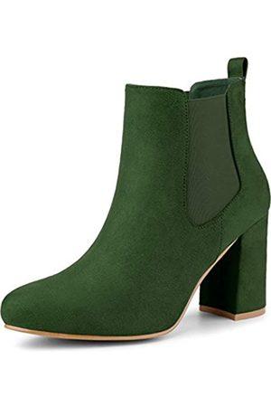 Allegra K Damen Rund Toe Mid Calf Blockabsatz Chelsea Boots Stiefel 36