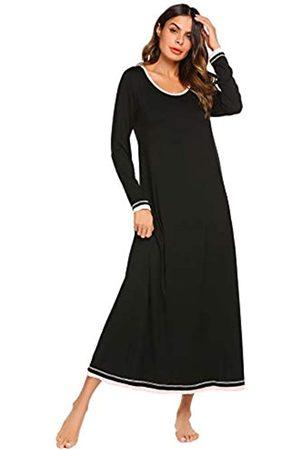 Ekouaer Nachtwäsche Damen Nachthemd Casual Loungewear Langarm Lang Nachthemd S-XXL - - XX-Large