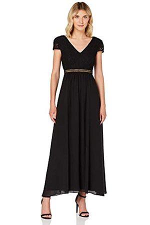 TRUTH & FABLE Damen Lange Kleider - Damen Maxi Chiffon-Kleid mit A-Linie, (Black), 36
