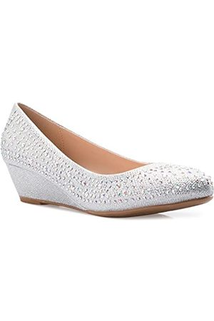Olivia K Damen Close-Round Toe Low Wedge Glitzer Strass Komfort, ( Glitter)