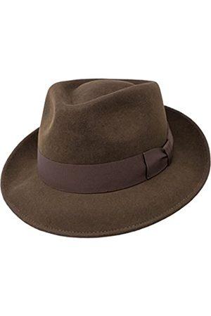 Borges & Scott B&S Premium Doyle - Teardrop Fedora Hut - 100% Wollfilz - perfekt zum Reisen - was-serabweisend - Unisex - 54cm