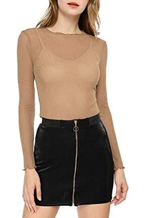 Allegra K Damen Langarm Rüschen Durchsichtig Glitzer Mesh Top Bluse XS