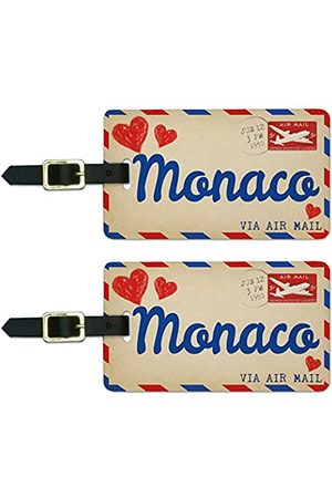 Graphics and More Graphics & More Air Mail Postkarte Love for Monaco Gepäck Koffer Handgepäck Id Tags (Weiß) - Luggage.Tags.50688