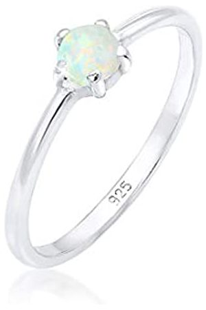 Elli Elli Ring Damen Basic Bandring Synthetischer Opal Geo in 925 Sterling