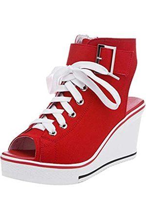 OCHENTA OCHENTA Damen Canvas hochhackigen Plateau Keil Fashion Sneaker Pumps # 7