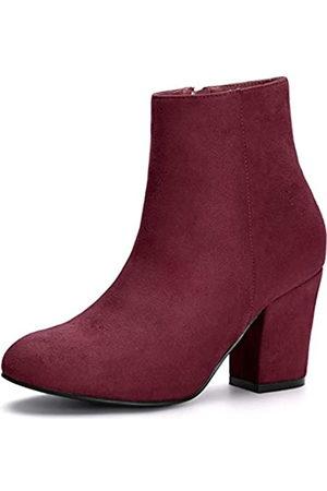 Allegra K Damen Round Toe Reißverschluss Blockabsatz Ankle Boots Stiefel 38.5