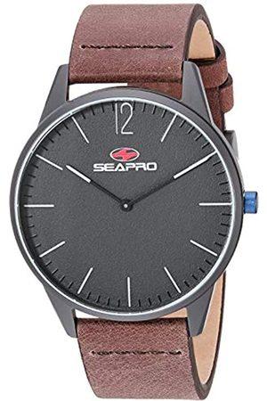 Seapro Herren-Armbanduhres Loch, Edelstahl, Quarz, Leder, Kalbsleder, braun