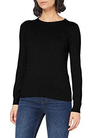 MERAKI Damen Strickpullover - Amazon-Marke: Baumwoll-Pullover Damen mit Rundhals (Black), 40