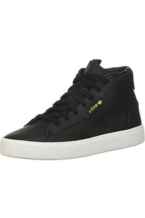 adidas Damen Sleek Mid Leder Schuhe, (Core Black/Core Black/Crystal White)