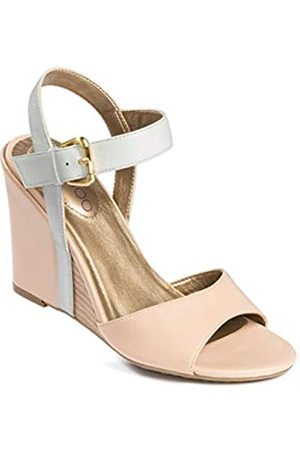 Me too Open Toe Leather Wedges with Ankle Strap-Nude/White-11