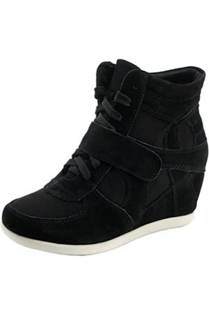 Generic Women's Formal Wedge Hidden Heel Red Suede Leather Fashion Sneaker