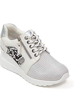 Lady Couture Keil-Sneaker mit Schlange und metallischem Rand, Sparkle