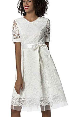 Apart Damen Kleider - APART Elegantes Damen Kleid, Brautkleid, Farbton: Crème, aus Spitze und Mesh, mit Satin-Bindegürtel, ausgestellte Form