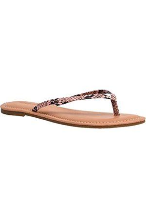 CUSHIONAIRE Damen Cora Flat Flip Flop Sandalen mit +Comfort, Pink ( Schlange)