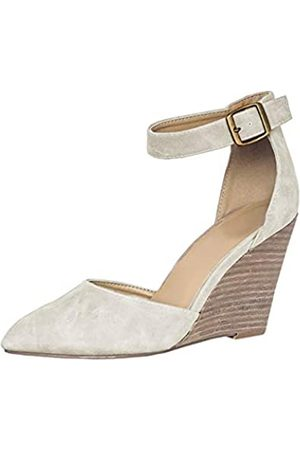 Nailyhome Nailyhome Damen Keilabsatz Knöchelriemen Schnalle Pumps gestapelt High Heel Cut Out spitz Zehen Sandalen Schuhe, Beige (nude)