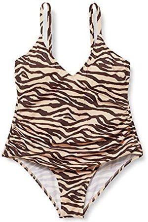 IRIS & LILLY Amazon-Marke: Damen Figurformender Shaping Badeanzug, Mehrfarbig (Leopard), XL