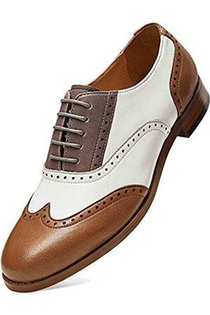 ALIPASINM Alipasinm Damen Oxfords Lace Up Wingtip Brogue Flats Sattelkleid formelle Hochzeit Büro Schuhe für Mädchen Damen, (Braun Weiß Grau)