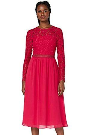 TRUTH & FABLE Amazon-Marke: Damen Midi A-Linien-Kleid aus Spitze, Pink (Fuchsienrosa), 32