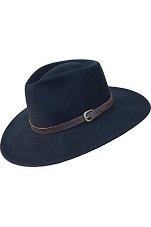 Borges & Scott B&S Premium Lewis - Fedora Hut mit breiter Krempe - 100% Wollfilz - wasserfest - Lederband - 62cm