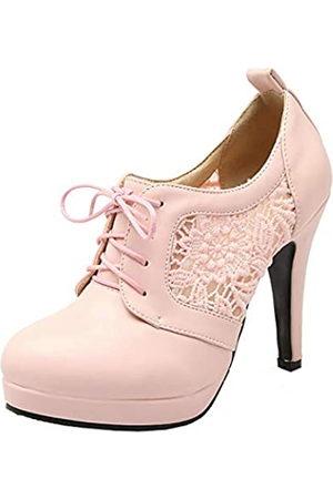 LUXMAX Damen Schnürstiefeletten mit hohem Absatz, Stiletto-Plateau-Stiefel, Pink (rose)