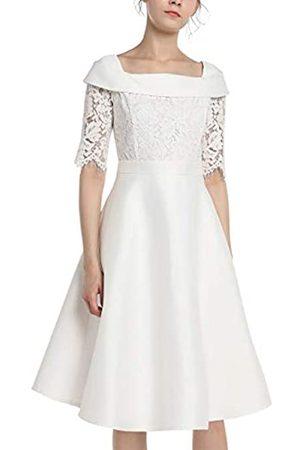Apart Damen Kleider - APART Elegantes Damen Kleid, Brautkleid, Spitzenkleid, mit Satin, halblange Ärmel, Quarrée-Kragen, glockiger Rock, Taillenband