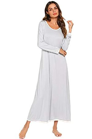 Ekouaer Nachtwäsche Damen Nachthemd Casual Loungewear Langarm Lang Nachthemd S-XXL - Grau - Small
