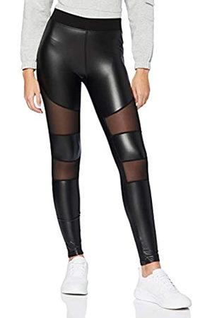 Urban classics Damen Ladies Tech Mesh Faux Leather Leggings, Black